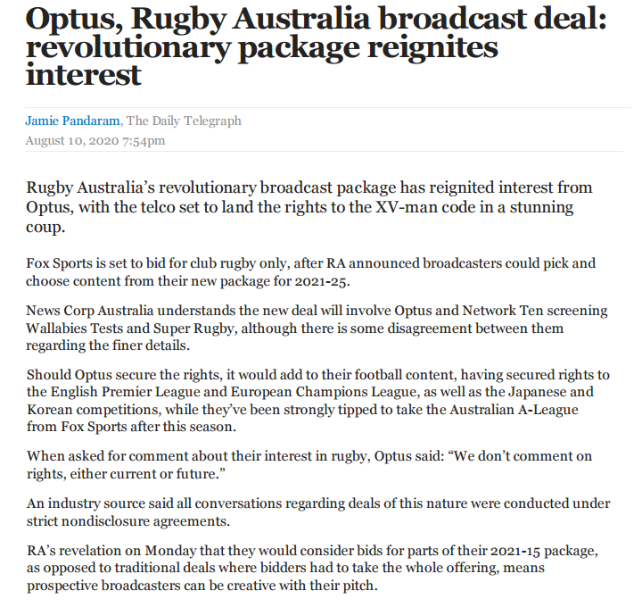 Name:  2020-08-10 Optus, Rugby Australia broadcast deal - revolutionary package reignites interest P1a.png Views: 229 Size:  113.1 KB